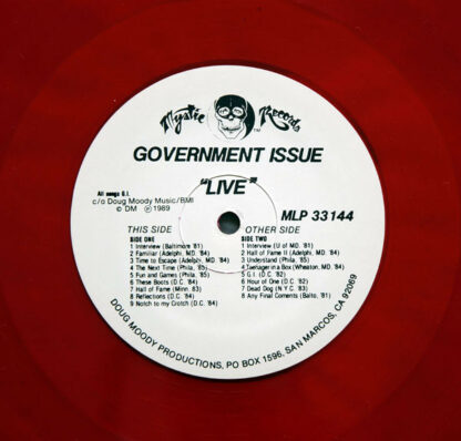 GOVERNMENT ISSUE - Live On Mystic LP (Red)